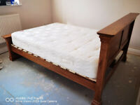Solid Oak 4ft 6in Double Sleigh Bed 6 ft French Louis