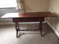 Two drawer drop leaf mahogany table