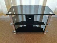 Black Glass TV stand - Only £10!! (Location Scotter)