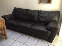 Italian leather sofas and armchair