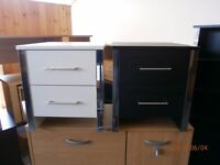 Brand New Bedsides, White and Chrome Effect, Black and Chrome Effect 2 Drawer
