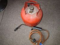Plumbers blow torch and gas bottle