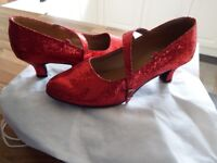 Red sparkly dancing shoes size 7