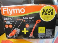 FLYMO BNIB 'EASIMO' MOWER & 'MINI TRIM' STRIMMER (TWIN PACK).
