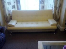 sicily 2 seater leather effect clic clac sofa bed in cream excellent condition unmarked
