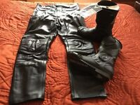 Biker boots and trousers new never worn