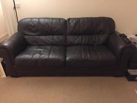 DFS leather brown sofa