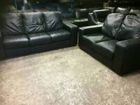 2 and 3 seater sofas in genuine black leather