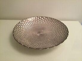 Large, Metallic, Geometrically-Patterned, Decorative Bowl