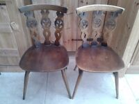 PAIR OF ERCOL DINING CHAIRS KITCHEN DINING ROOM SOUND SOLID IDEAL SHABBY CHIC PROJECT
