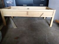 Glass top coffee table with 2 drawers