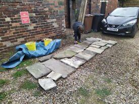 Yorkshire stone paving slabs