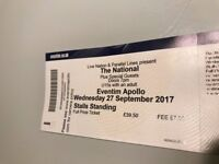 1x The National, Stalls Standing, Wednesday 27 September 2017