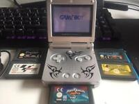 Game boy Advance SP with 5 games