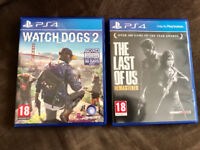 Ps4 TLOU and Watch Dogs 2