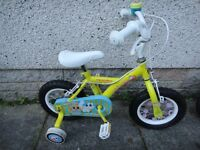 Apollo sugar and spice bike yellow & blue with stabilisers 12.5 inch wheels, suit age 2 to 4 years