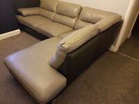 Grey and black real leather corner sofa