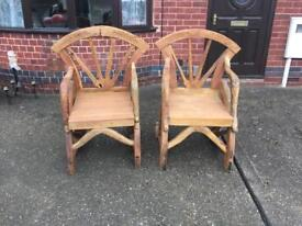 2x Solid wood chairs - £30 each ONO