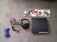 120gig ps3, 4 games, wireless controller, turtlebeach headset