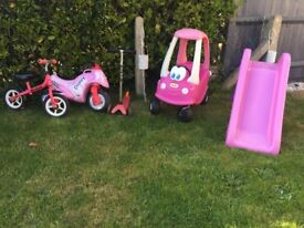 Garden toys. Cosy coupe, micro scooter, slide, balance bike & motor bike.