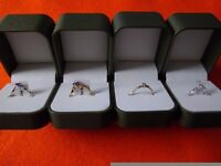 Four 9ct gold + diamonds new boxed rings, all 4 for £170. sizes L, M, O, Collect Swindon