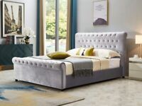 Double and KInG sizE plush velvet Sleigh beD
