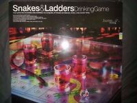 LARGE SNAKES & LADDERS ADULT DRINKING GAME BOARD WITH 4 SHOT GLASSES - GLASS BOARD + DICE