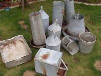 Galvanised chicken feeders