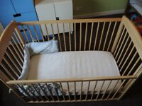 Cot bed John Lewis with mattress and cot bumper