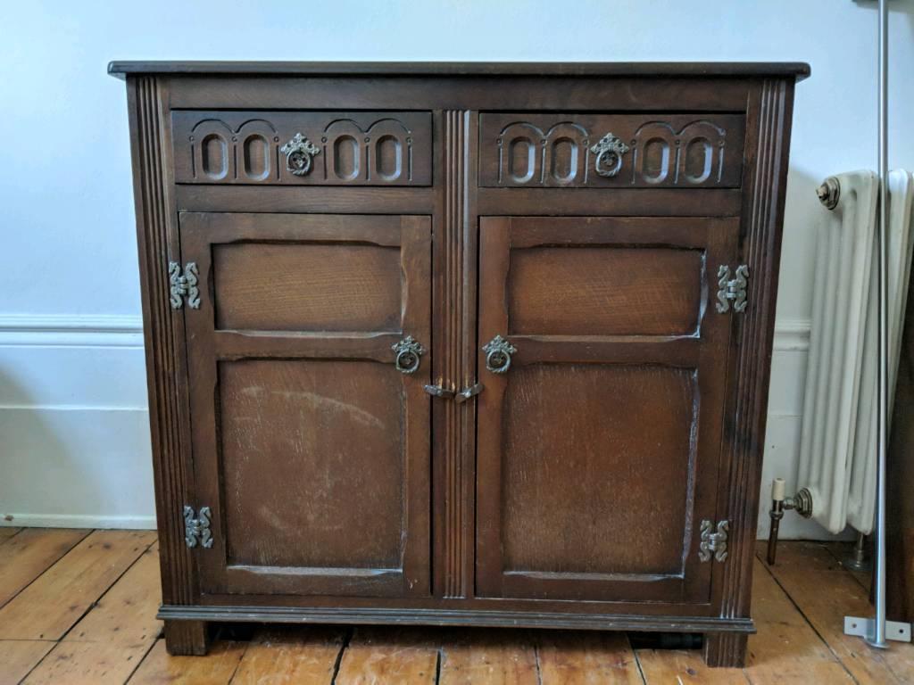 Antique Dark Wood Dresser Sideboard Cabinet