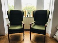 Two wingback armchairs