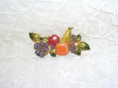 Iridescent Pin of Fruit Apple Grapes Orange Pear Bananna (Bananna Costume)