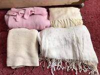 Pink hat and glove set and x3 cream scarfs