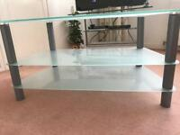 TV STAND EX CONDITION WHITE FROSTED GLASS WITH BRUSHED STEEL UPRIGHTS