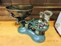 Kitchen scales with bowl and weights
