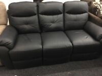 New/Ex Display LazyBoy Black Leather 3 Seater Recliner Sofa
