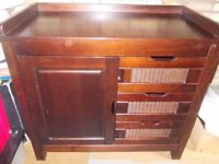 Large dark wood chest of drawers/cupboard good condition