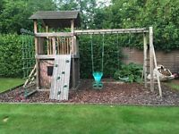 MAXPLAY Discovery Tower Outdoor Wooden Climbing Frame. VG Condition inc Assembly Guide.