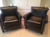 2 Vintage leather armchairs