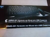 Keyboard and mouse with USB cable