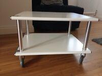 Industrial Style Metal White Heavy Duty Low Table/ Side Table/ Coffee Table on Wheels/ Castors