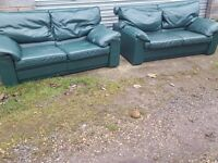 Lovely green leather sofa suite,pair of large 2 seaters, can deliver
