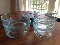 5 Pyrex Glass Food Containers/Tupperware with Lids