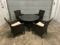 FREE DELIVERY BROWN GARDEN RATTAN ROUND DINING GLASS TOP TABLE & 4 CHAIRS GOOD CONDITION