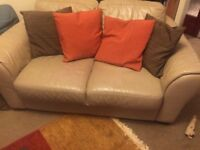 Cream leather sofas, corner couch 3+3 and 2 seater