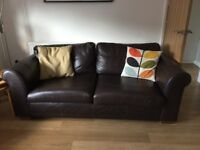 Two Next sofas for sale. 1 brown leather and 1 brown striped.