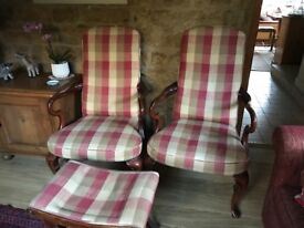 Pair of newly upholstered armchairs and matching stool