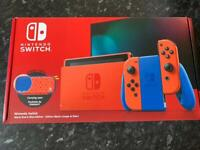 Nintendo Switch Mario Red and Blue Limited Edition Console + Case NEW