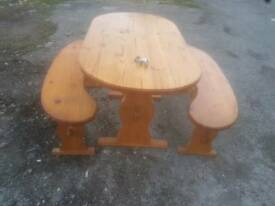 Dining Table & Benches - Quality Cute Pine Dining Table with 2 Benches