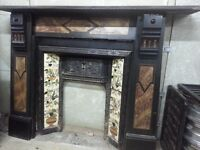Cast Iron fireplace with slate surround, Art Deco
